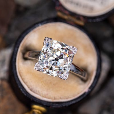 Solitaire Old Mine Cut Diamond Engagement Ring 3.94ct L/I1 GIA