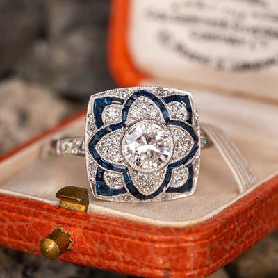 Beautiful Intricately Detailed Diamond Ring w/ Blue Sapphire Accents .71ct H/SI2