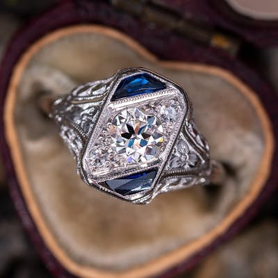 Incredible Art Deco Old European Cut Diamond Ring w/ Sapphire Accents