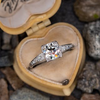 Antique Engagement Ring Transitional Cut Diamond 1.04ct I/VS1 GIA