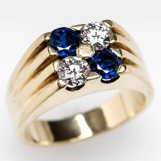 Vintage Cartier Ring Diamonds & Blue Sapphires 18K Gold