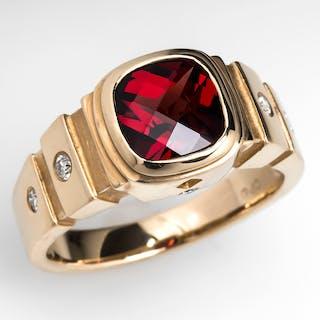 Bezel Set Garnet Ring Diamond Accents 14K Gold
