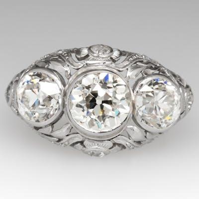 Antique Edwardian Era Engagement Ring Platinum Circa 1910 1.50Ct M/SI1