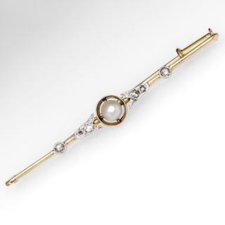 Antique Bar Pin Pearl & Diamond 18K Gold