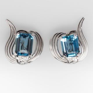 Aquamarine Earrings Retro Vintage 5.6 Carat Huggie Style