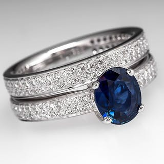 Ritani Sapphire & Diamond Endless Love Engagement Ring Set