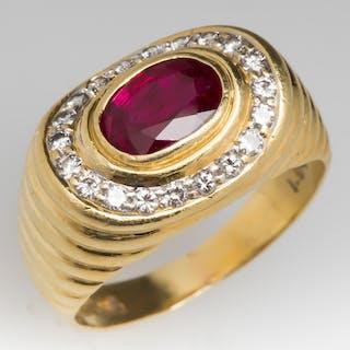18K Yellow Gold 1.5 Carat Ruby & Diamond Low Profile Ring