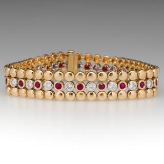 18K Yellow Gold Bezel Set Diamond & Ruby Bracelet 7-Inch