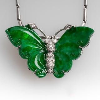 Carved Jadeite A-Jade & Diamond Butterfly Necklace