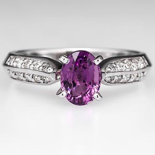 Color Change Pink Sapphire Ring w/ Diamond Accents 14K White Gold