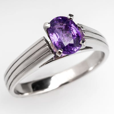 Natural Color-Change Sapphire Ring Platinum