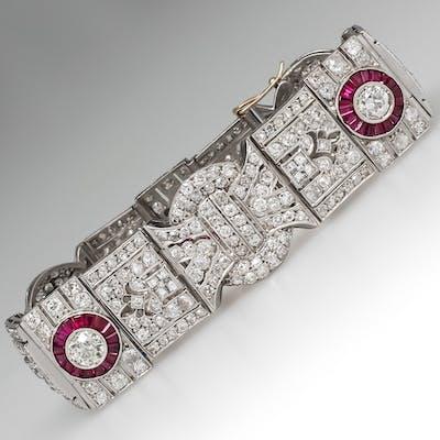 Fine Estate Jewelry Platinum Diamond & Ruby Halo Bracelet Antique 1920's