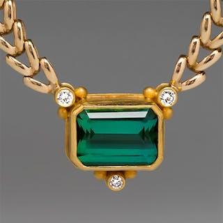 Richard Paille Tourmaline Pendant 18K Gold w/ 14K Necklace