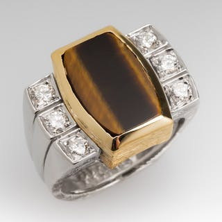 Vintage Tiger's Eye & Diamond Cocktail Ring 18K Gold
