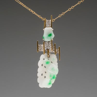 Moss In Snow Jade & Diamond 18K Two Tone Gold Pendant Necklace