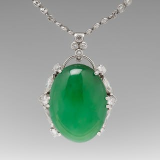 24 Carat Natural Jadeite Jade and Diamond Pendant and Chain GIA Certified