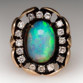 Opal & Diamond Ring Large Vintage Flower Motif Cocktail 14K Gold