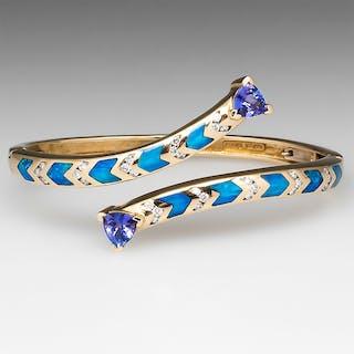 LeVian Opal Inlay Hinged Bangle Bracelet 14K Gold