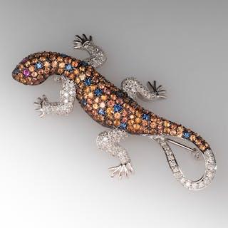 Lizard Pin W/ Diamonds, Sapphires & Rubies