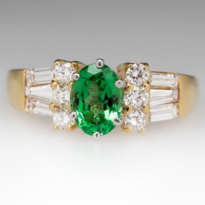 Natural 1.3 Carat Tsavorite Garnet & Diamond Ring 18K