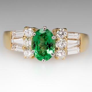 Natural 1.3 Carat Tsavorite Garnet & Diamond Ring 18K