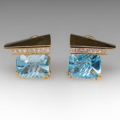 Large Fantasy Cut Blue Topaz & Diamond Earrings 18K