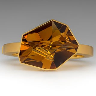 Munsteiner Cut Citrine Bracelet 18K Gold Bangle