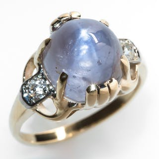 Vintage Star Sapphire Cocktail Ring Diamond Accents 14K Gold