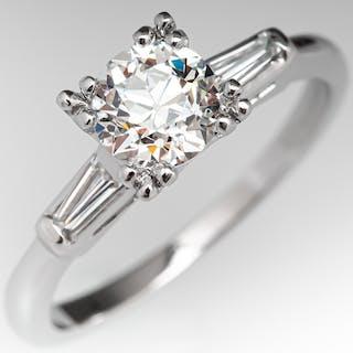 Vintage Engagement Ring Certified Diamond .82ct E/VS1 GIA