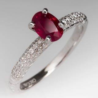 .98 Carat Oval Ruby Diamond Ring