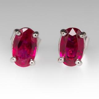 2 Total Carat Natural Ruby Stud Earrings in Platinum