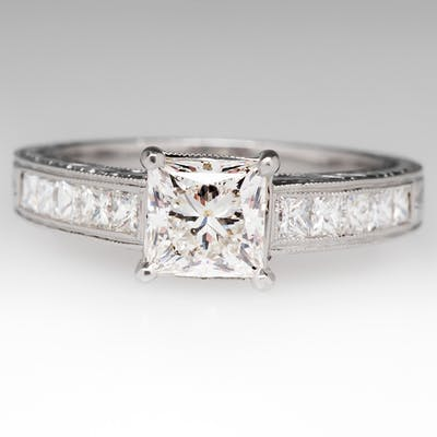 Varna 1.2 Carat Princess Cut Diamond Platinum Ring