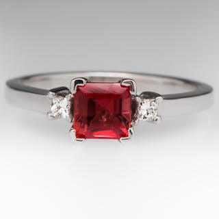 .84 Carat Square Tourmaline & Diamond Ring 14K