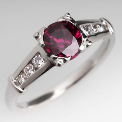 1.5 Carat Purplish Ruby Ring w/ Diamond Accents Platinum