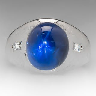 Gypsy Set Mens Star Sapphire Diamond Vintage Mens Ring