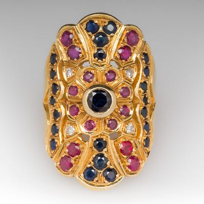 Vintage Sapphire Ruby Diamond North to South Cocktail Ring 18K