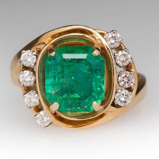 3 Carat Emerald & Diamond Vintage Retro Ring 14K
