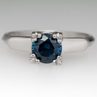Teal Blue Green Montana Sapphire Solitaire Ring 1950's Platinum Mounting