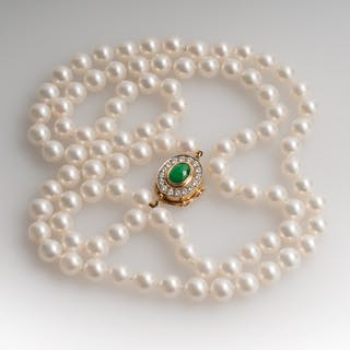 "Vintage Pearl Necklace w/ Jadeite & Diamond Clasp Opera Length 36"""