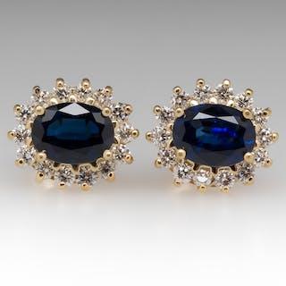 Princess Blue Sapphire & Diamond Halo Stud Earrings 18K Gold