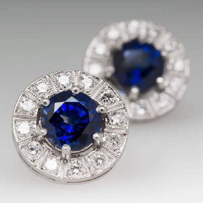 Rich Blue Sapphire & Diamond Halo Stud Earrings Platinum