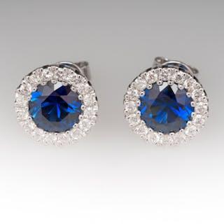 Electric Blue Sapphire & Diamond Halo Stud Earrings 14K