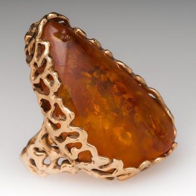 Large Natural Amber Gold Nugget Motif Cocktail Ring 14K