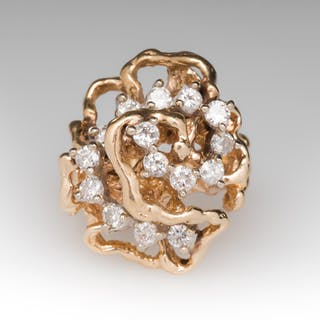 Diamond Cluster Wave Pattern 14K Yellow Gold Ring