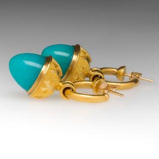 Elaine Greenspan Robins Egg Blue Chrysocolla Hoop Drop Earrings 22K
