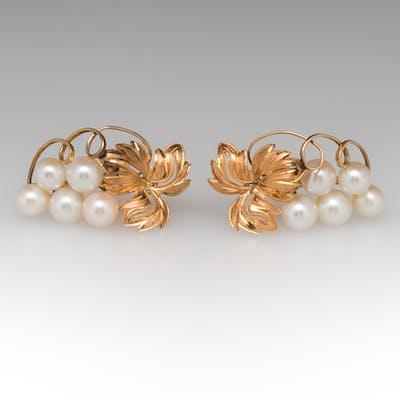 Bunch of Grape Motif Clip-On Pearl Earrings 14K Yellow Gold