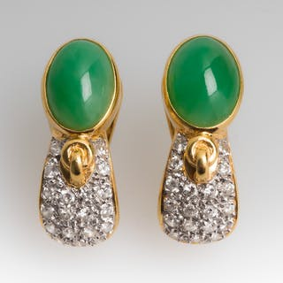 Jadeite Jade Cabochon Earrings 18K Yellow Gold w/ Diamonds