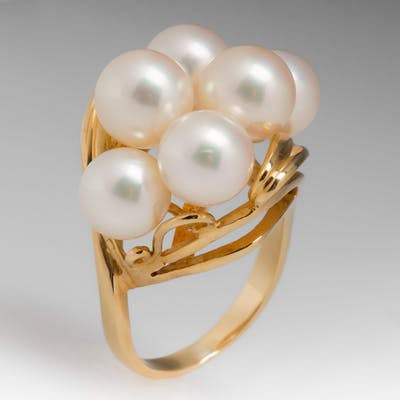 Lovely Vintage Pearl Jewelry Cocktail Ring 18K Gold