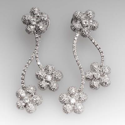 5 Carat Diamond Encrusted Flower Dangle Earrings 14K