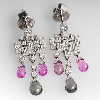 Pink & Green Sapphire Briolette Diamond Dangle Earrings 18K